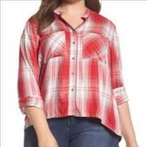 Melissa McCarthy Seven7 Red Plaid High-Low Top